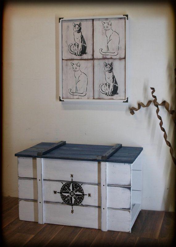 Maritime Truhe als Katzentoilette Shabby von CATatHOMEDesign