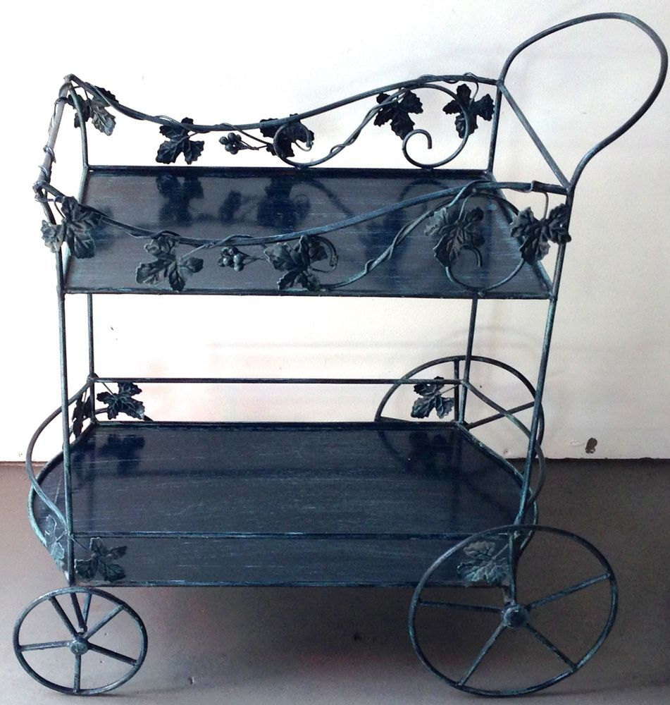 Green Wrought Iron Rolling Garden Serving Cart Outdoor Yard Furniture Patio