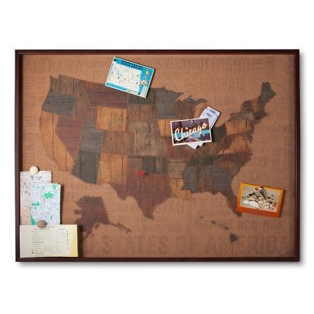 Cork Board US Map 30x40 Includes 15 Multicolor Flag Pins