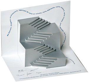 Origamic Architecture Escalier Cartes Pop Up Papier Decoupe Carte De Voeux Blanc Visiter