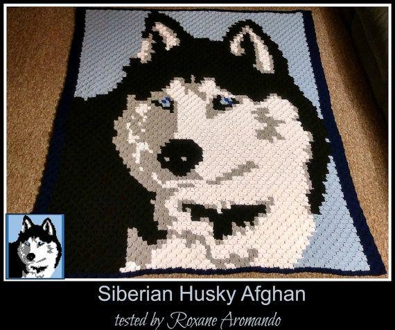 Siberian Husky Afghan, C2C Crochet Pattern, Written Row