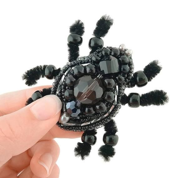 """Photo of DIY Jewelry making kit, Seed beaded brooch """"Spider"""", Bead Embroidery Brooch"""