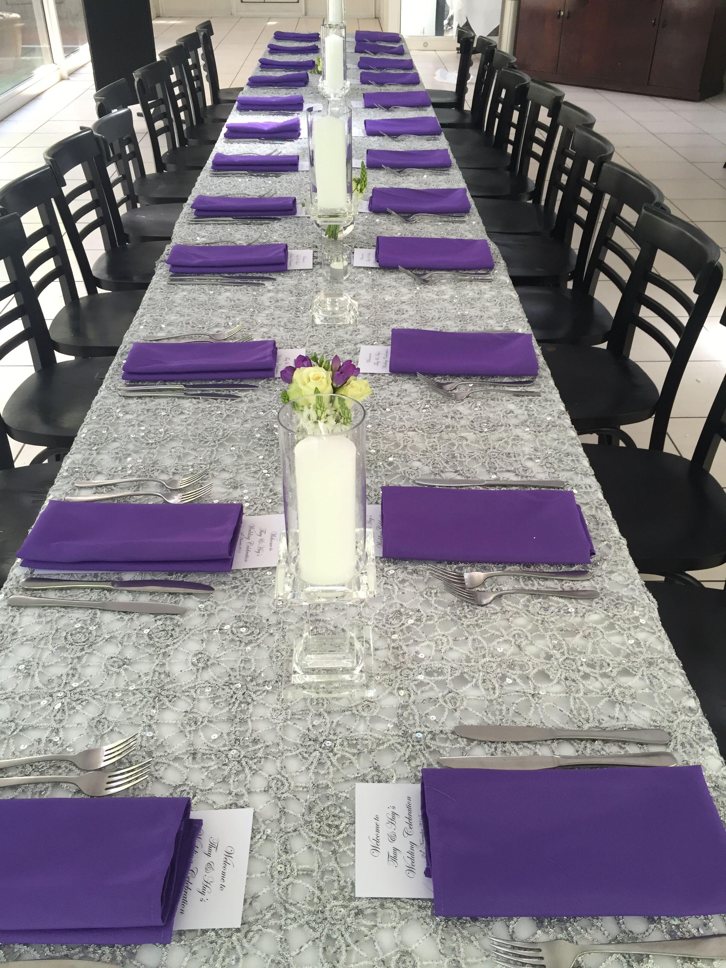 Decorit Events silver lace linen with purple napkins rental lace tablecloths  linen  Lace Tablecloth Wedding  Decorit Events silver lace linen with purple napkins  linen rental  . Purple Tablecloths For Wedding. Home Design Ideas