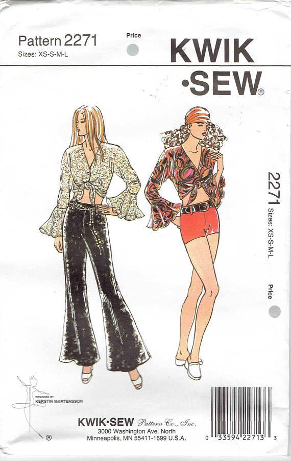 90s Dancewear Pattern Kwik Sew 2271 Knit Bell Bottom Pants V Neck