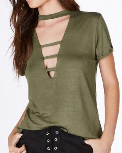 d9073adad07 Chic cut out t shirt for women plain green v neck t shirts roll sleeves