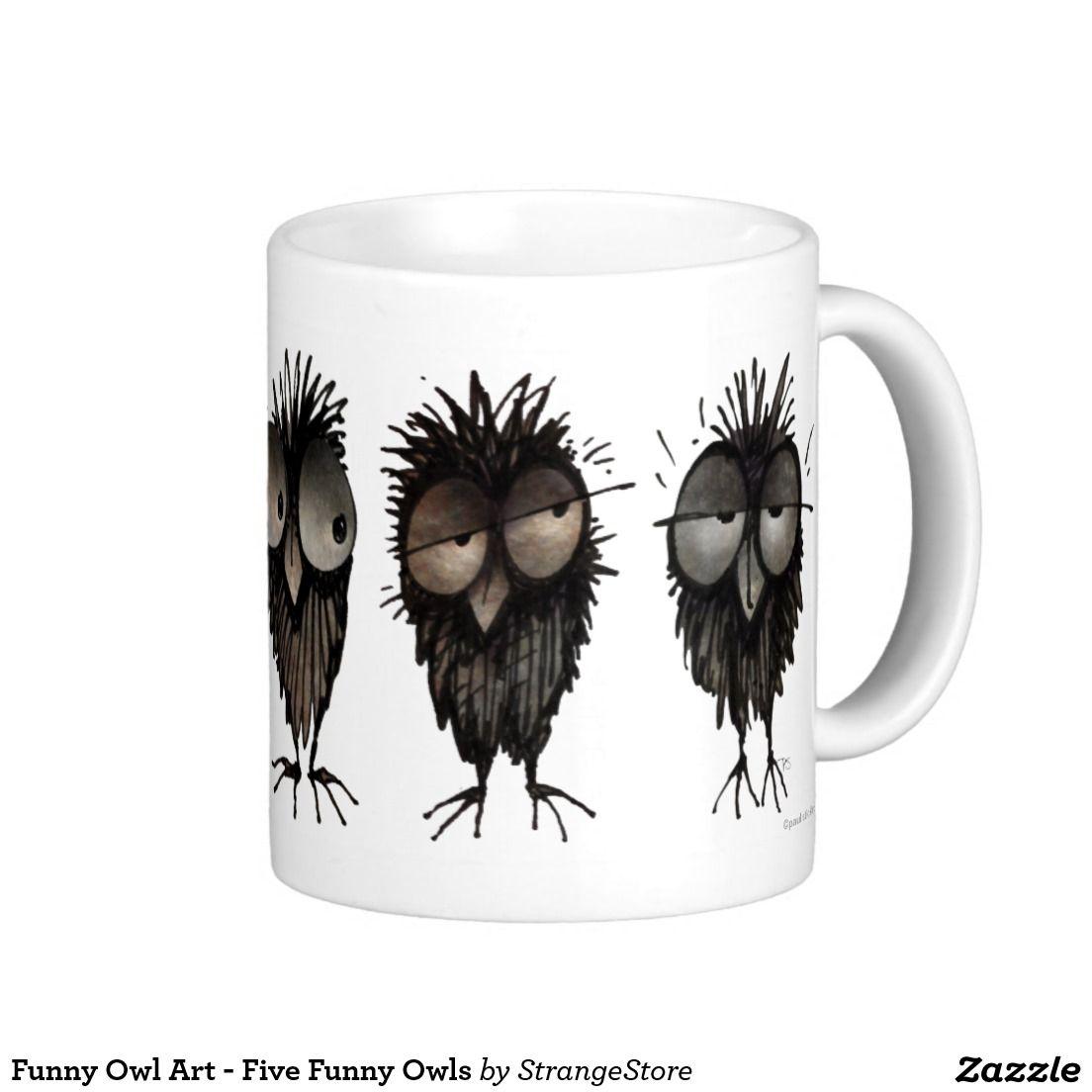 Funny Owl Art - Five Funny Owls Classic White Coffee Mug