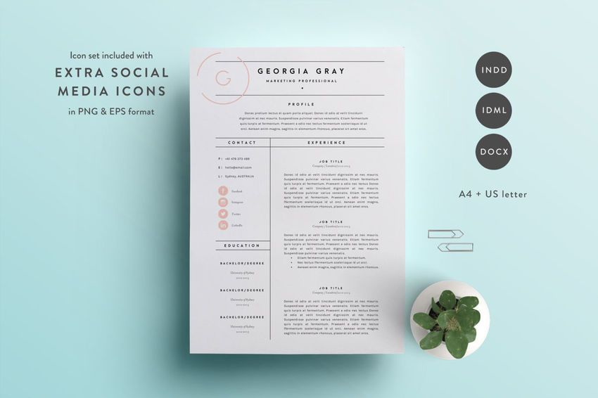 50+ Professional #Resume \ #CV #Templates - mockup Pinterest - adobe indesign resume template