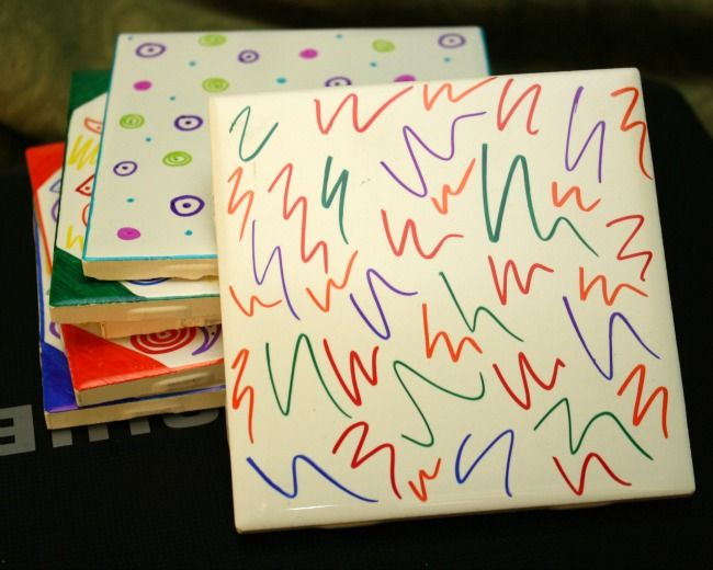 DIY Tile Coasters Ceramic Tiles, Sharpies And Either Seal Or Bake After.  Could Also