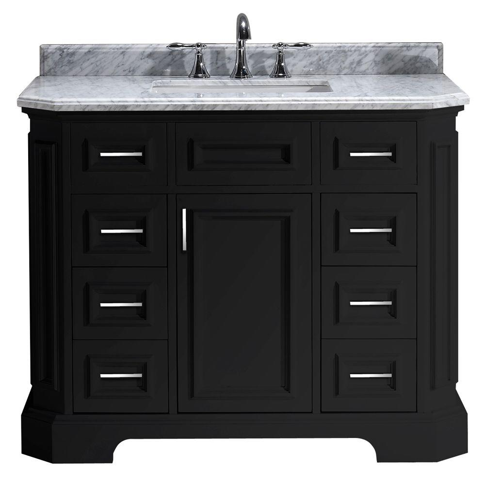 Pegasus Bristol 42 In Vanity In Black With Marble Vanity Top In Carrara White Pebristol42b The Home Depot In 2020 Black Vanity Bathroom Marble Vanity Tops Farmhouse Sink Vanity