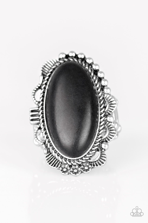 Open Range Black Black Stone Ring Black Rings Paparazzi Jewelry
