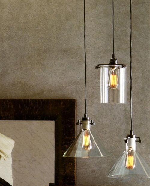 Glass Pendant Light. Bronzed Frames Support Clear Glass