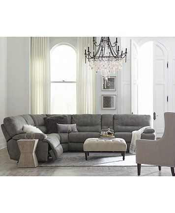Liam Fabric Power Reclining Sectional Sofa Collection, Created For Macyu0027s |  Macys.com