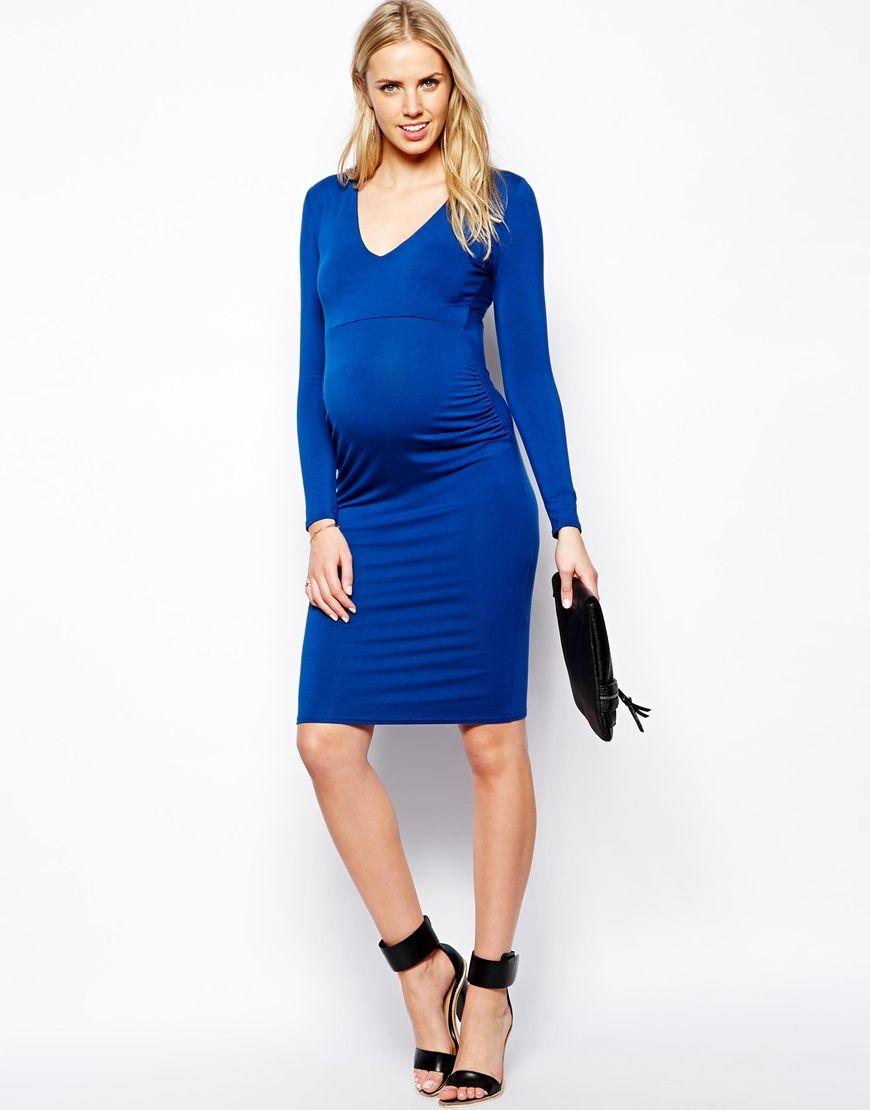 Maternity blue bodycon dress deep plunge long sleeve maternity maternity blue bodycon dress deep plunge long sleeve ombrellifo Image collections