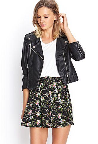 Falda flores+leather jacket