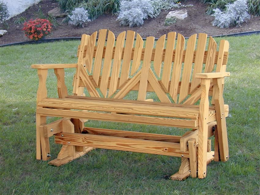 Awesome Amish Outdoor Pine Wood Heart Porch Glider Bench Made In The Creativecarmelina Interior Chair Design Creativecarmelinacom