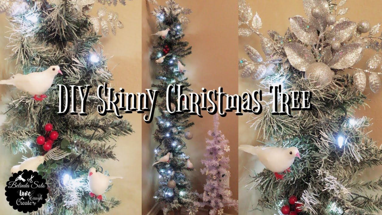 Diy Dollar Tree Snow White Christmas Tree Skinny Charlie Brown 5 4 Ft Tal Skinny Christmas Tree Skinny Christmas Tree Decorations Christmas Tree Decorations