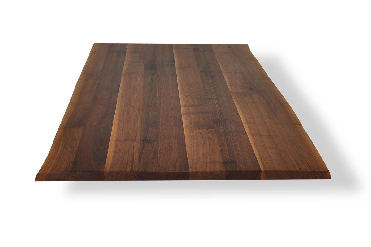 Nussbaum Tischplatte Mit Baumkante In Schwacher Ausfuhrung Tischplatten Massivholz Tischplatte Massivholz Arbeitsplatte