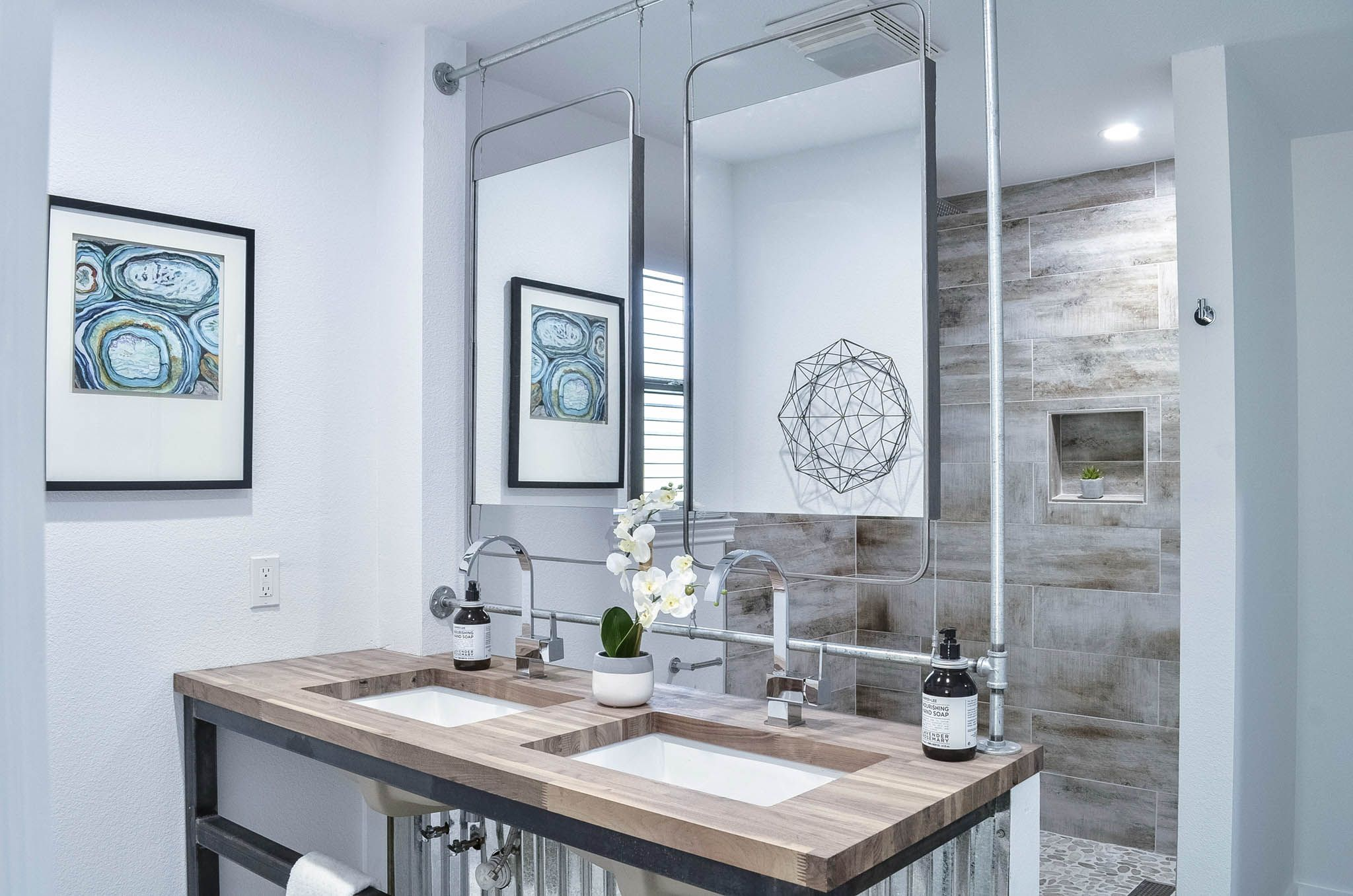Master Bathroom Remodel  Awesome Industrial Look With Suspended Mirrors