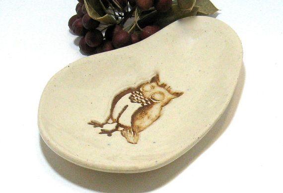 Ceramic Spoon Rest, Brown Owl by IrihanaArts