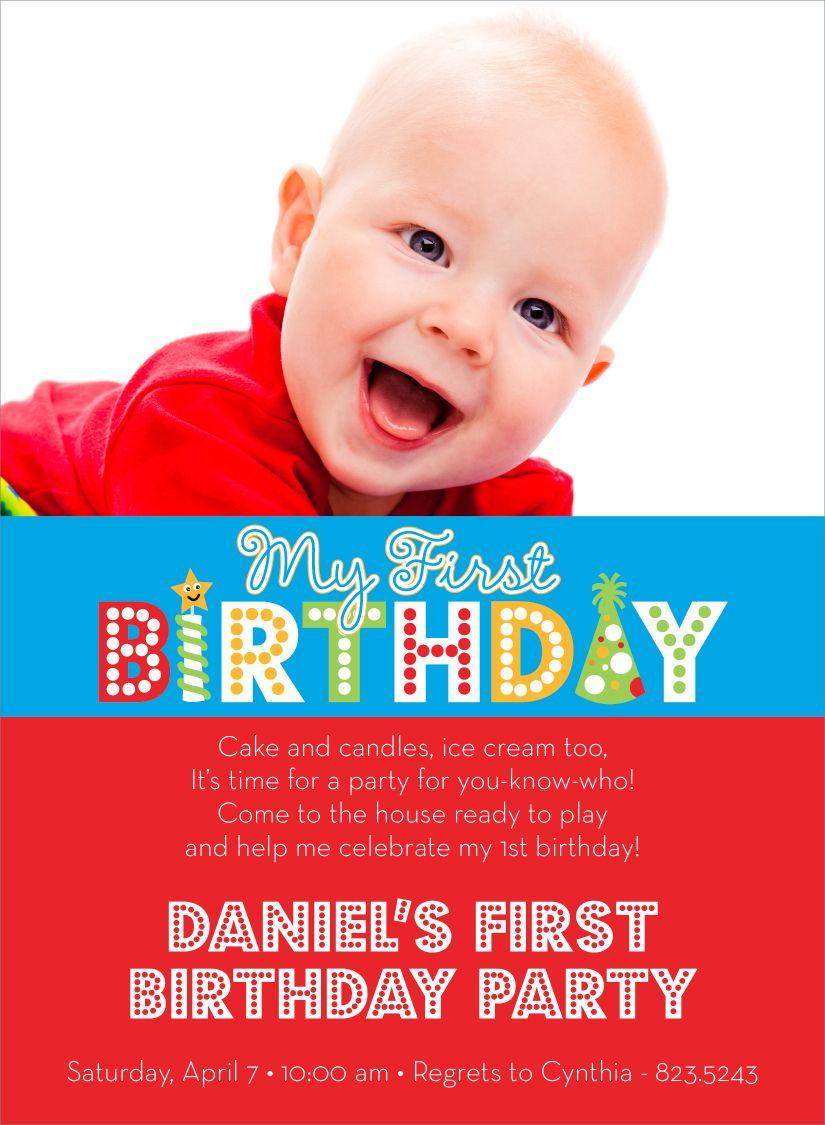 My First Birthday Words Red Photo Birthday Invitations by Noteworthy ...