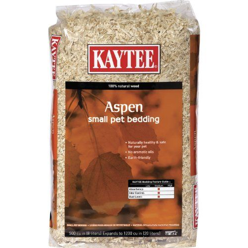 $3.60-$5.57 Kaytee Aspen Bedding for Pets, 1200 Cubic Inch - Kaytee Aspen Bedding and Litter is manufactured with all natural aspen shavings specially processed to eliminate dust and wood debris found in other bedding. Aspen bedding comes from hardwood, eliminating aromatic oils found in other types of wood bedding. Can be used in all cages, aquariums and critter trails. A natural biodegradable p ...