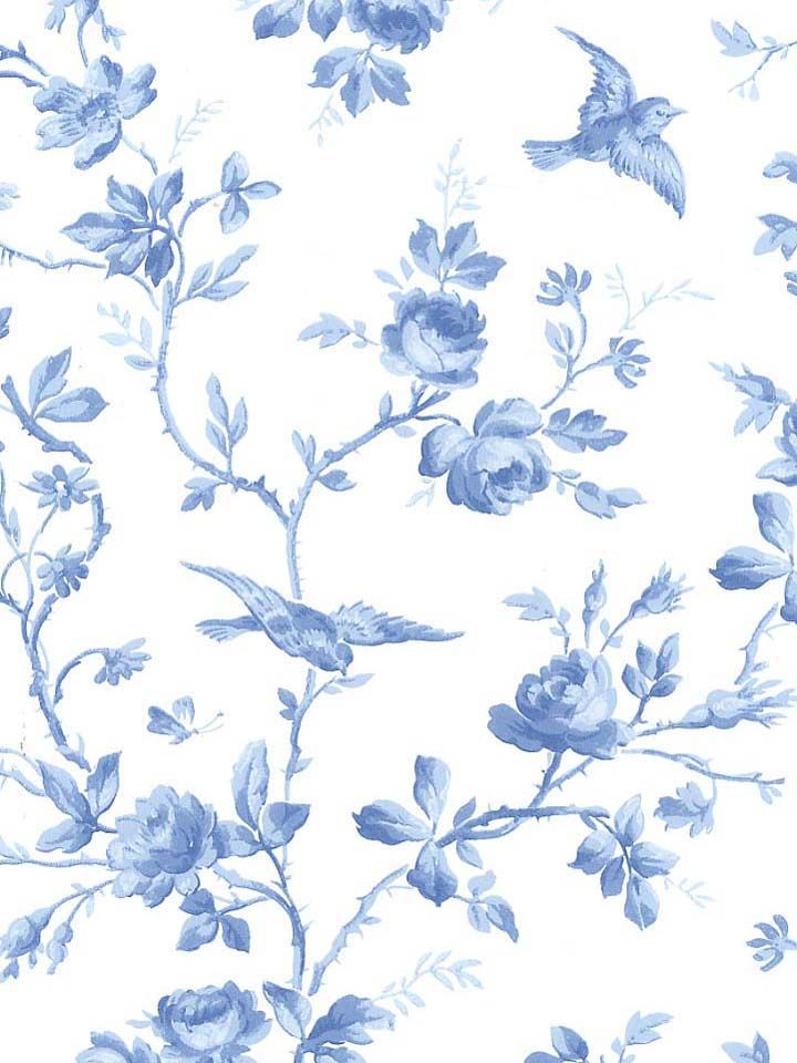 Bird and roses wallpaper perfect for the blue white cottage bird and roses wallpaper perfect for the blue white cottage mightylinksfo