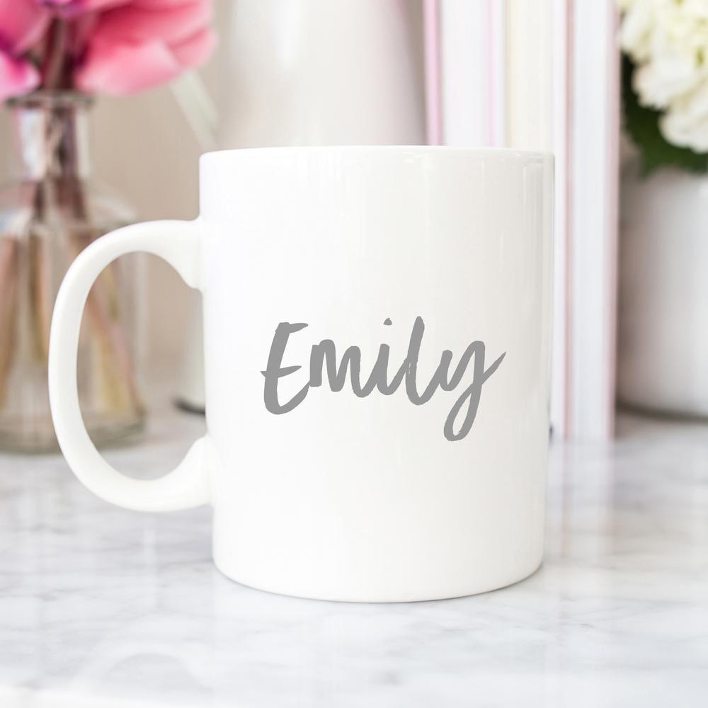 custom name mug grey