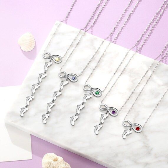★ Personalized Engraved Infinity Kids Feet Mothers Necklace with Names and one Birthstone★ All products are handmade in California, USA with the highest quality
