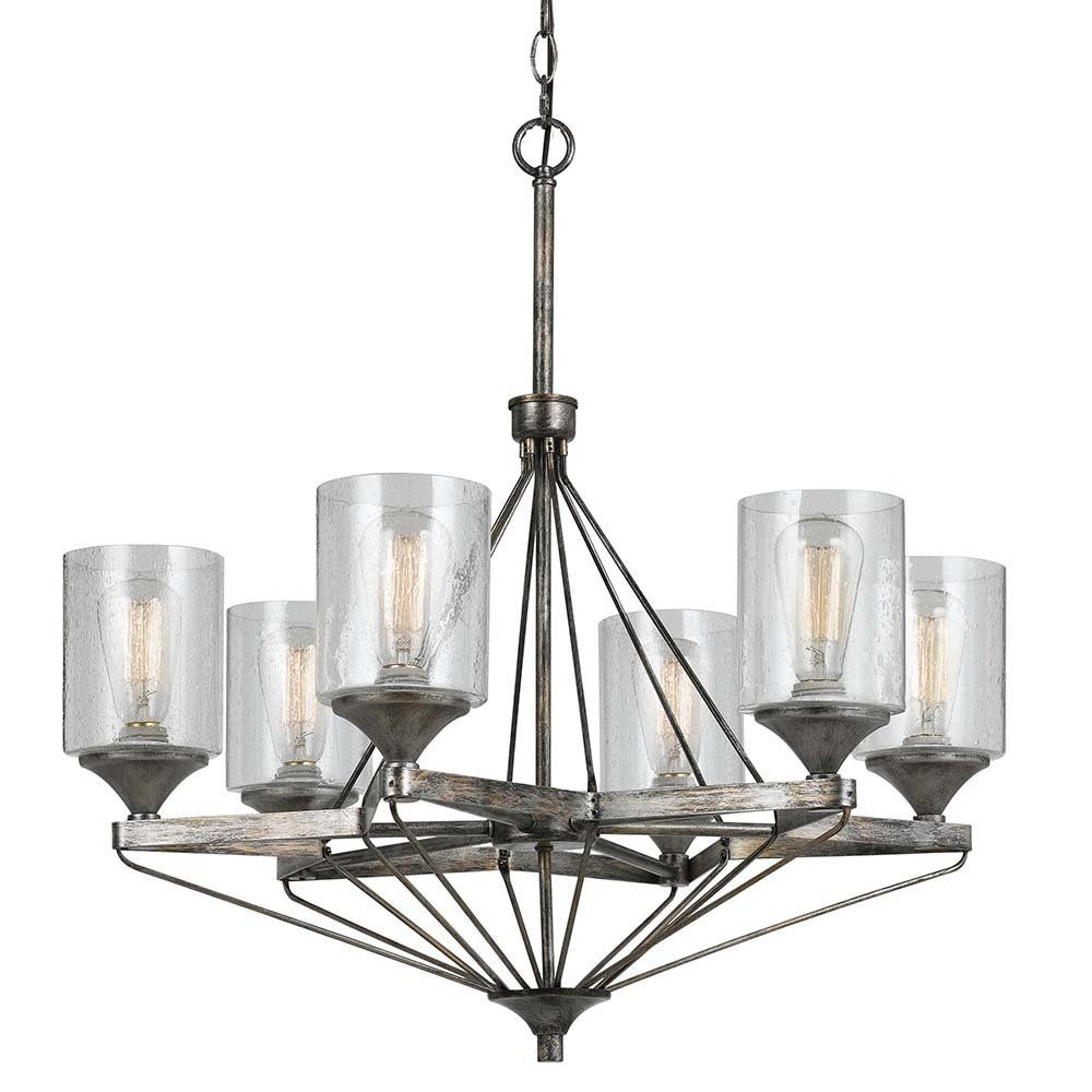 Cal Lighting FX 3538/6 Chandelier With Clear Seeded Glass Shades, Textured  Steel