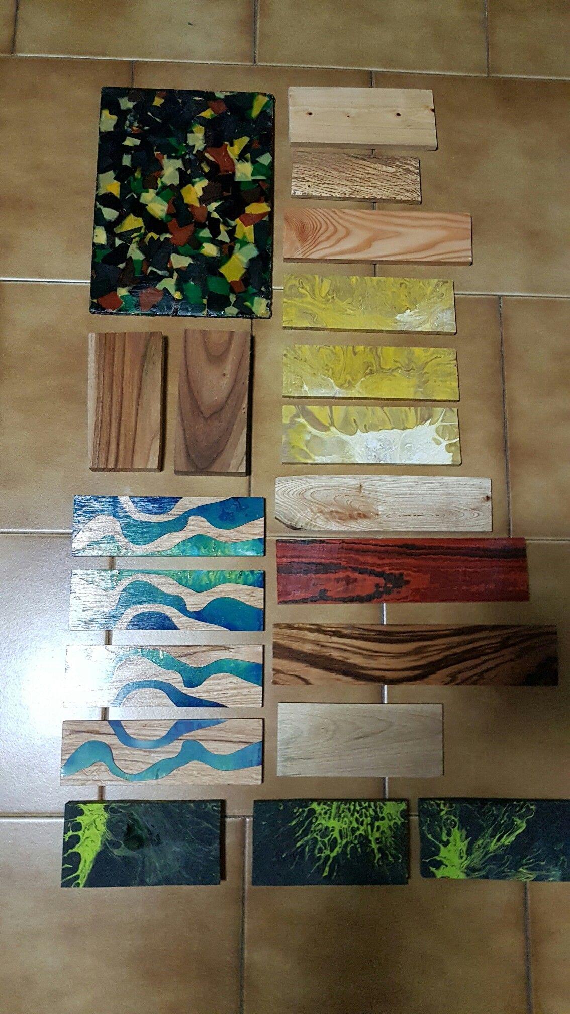 Varie essenze d legno olmo, cipresso, orniello, micarta, e resina.-