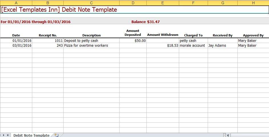 Debit Note Excel Template Excel Templates – Debit Note Template
