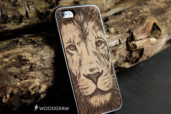 Lion Face Animals Beard Wood Case Nature, iPhone 7, iPhone 6, iPhone 6S, iPhone 5s, iPhone 5C King of Beasts Wooden Gifts For Men WOODGRAW