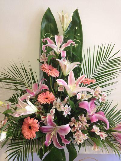 Centro De Flores Flores Variadas Lilium Oriental Gerbera Envio