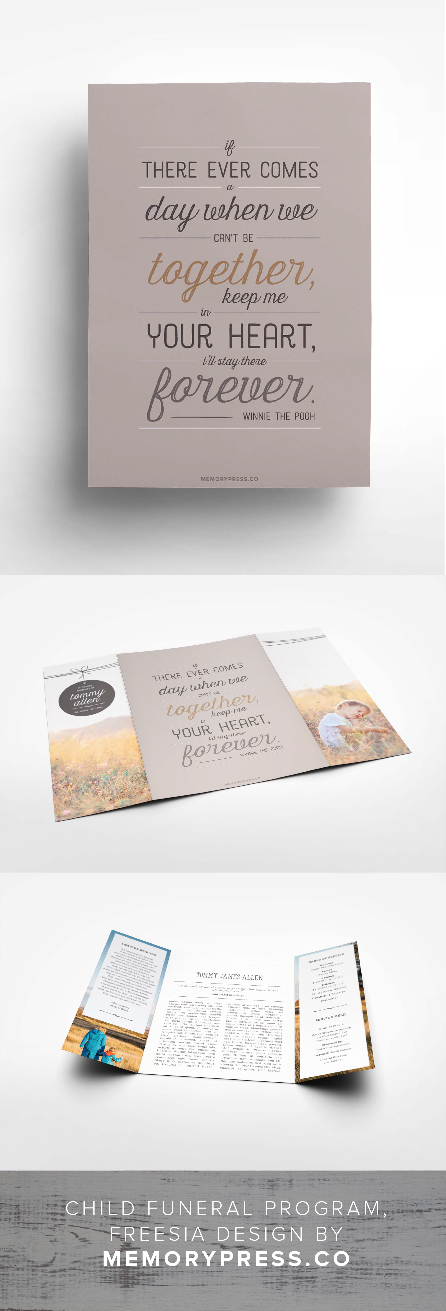 Freesia Funeral Program Design   Trauerfeier, Radieschen und Kisten