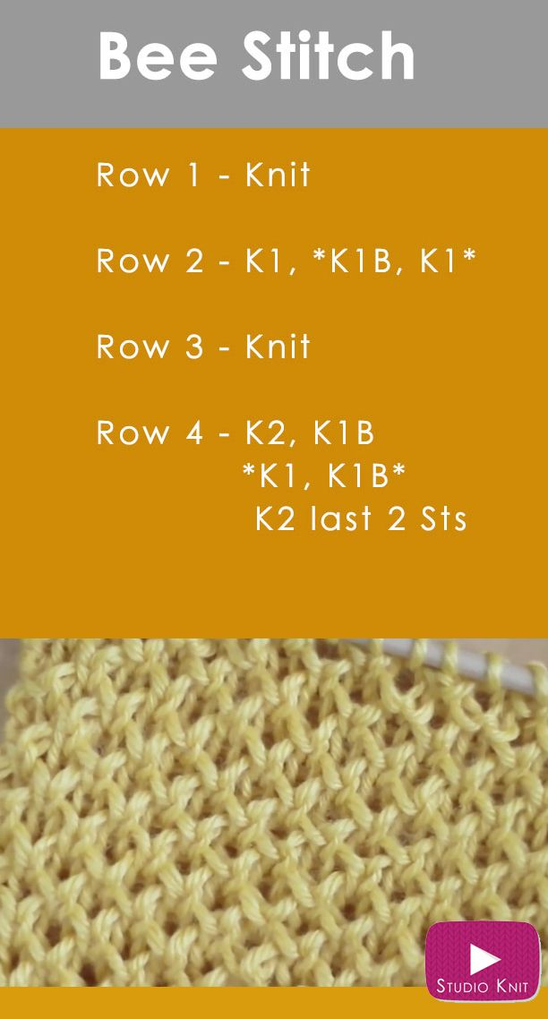 Knitting A Scarf How Many Stitches To Cast On : How to Knit the BEE Stitch Pattern Knitting patterns, Bees and Stitch