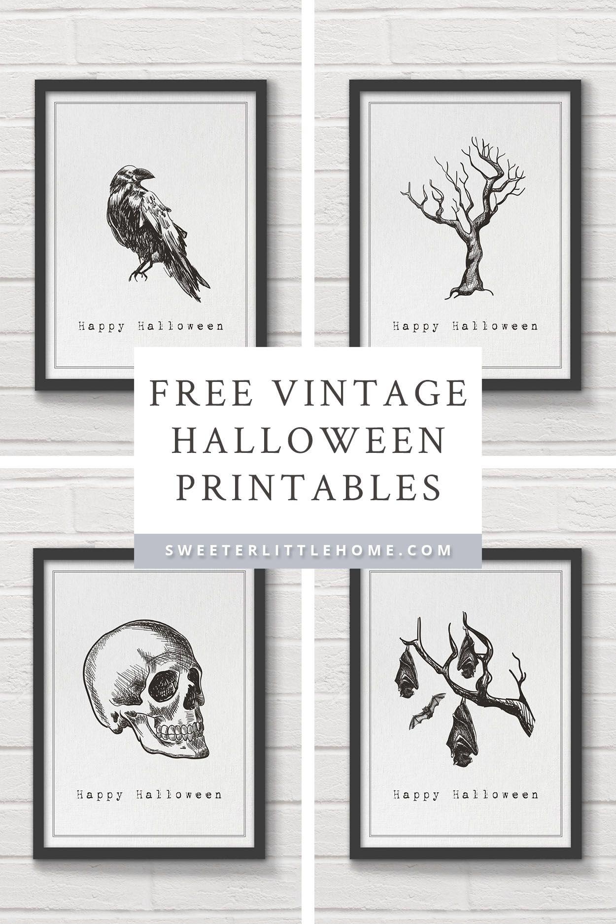 Free Printable Vintage Halloween Wall Art Halloween Wall Art