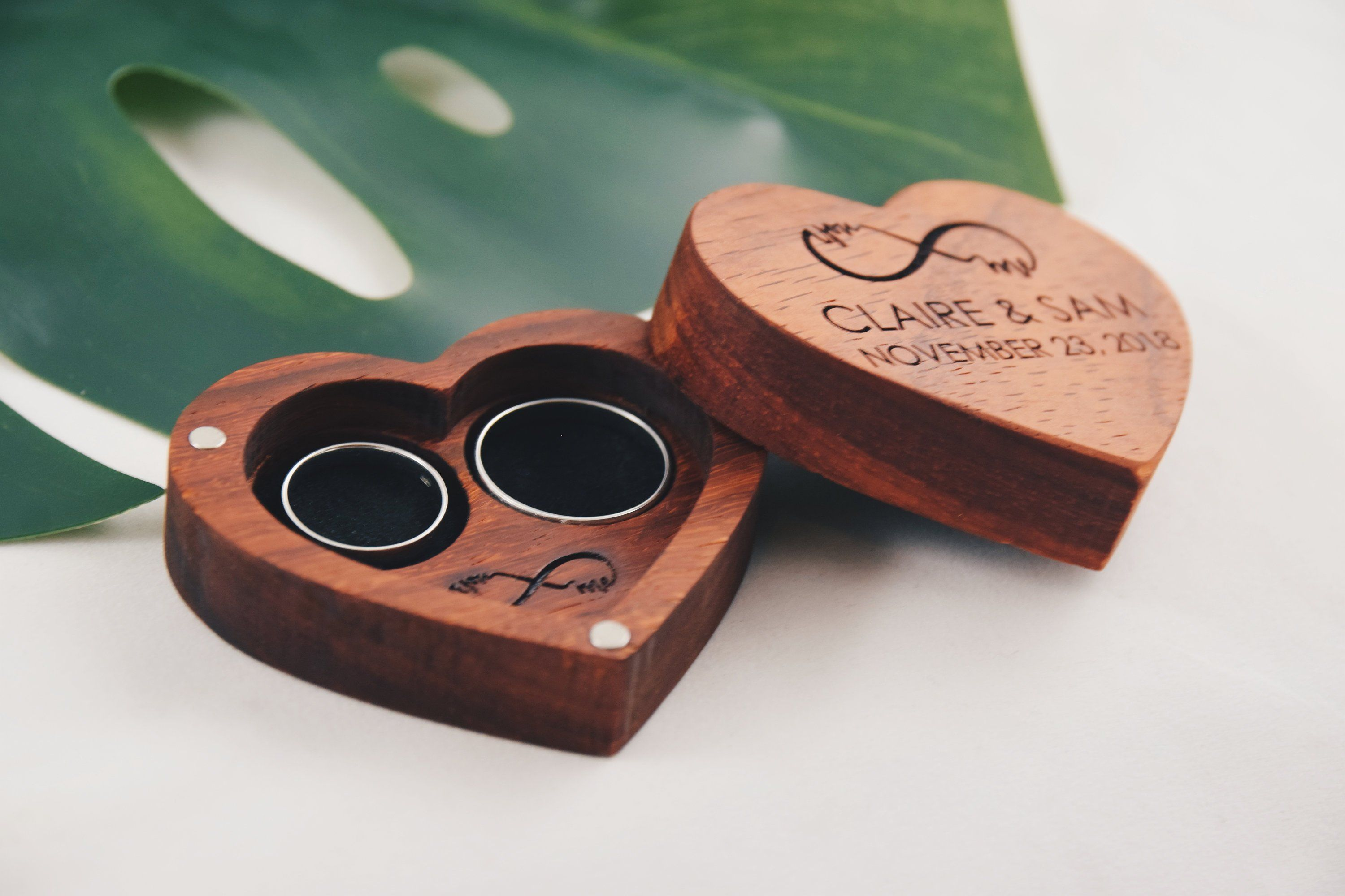 Heart Shaped Ring Box Eternity Sign Engraved Custom Ring Box Wedding