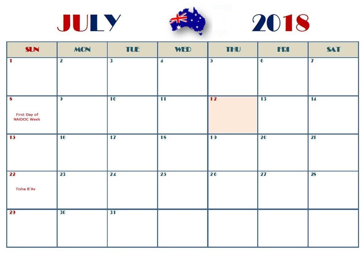 July 2018 Holiday Calendar For Australia Holiday Calendar 2018