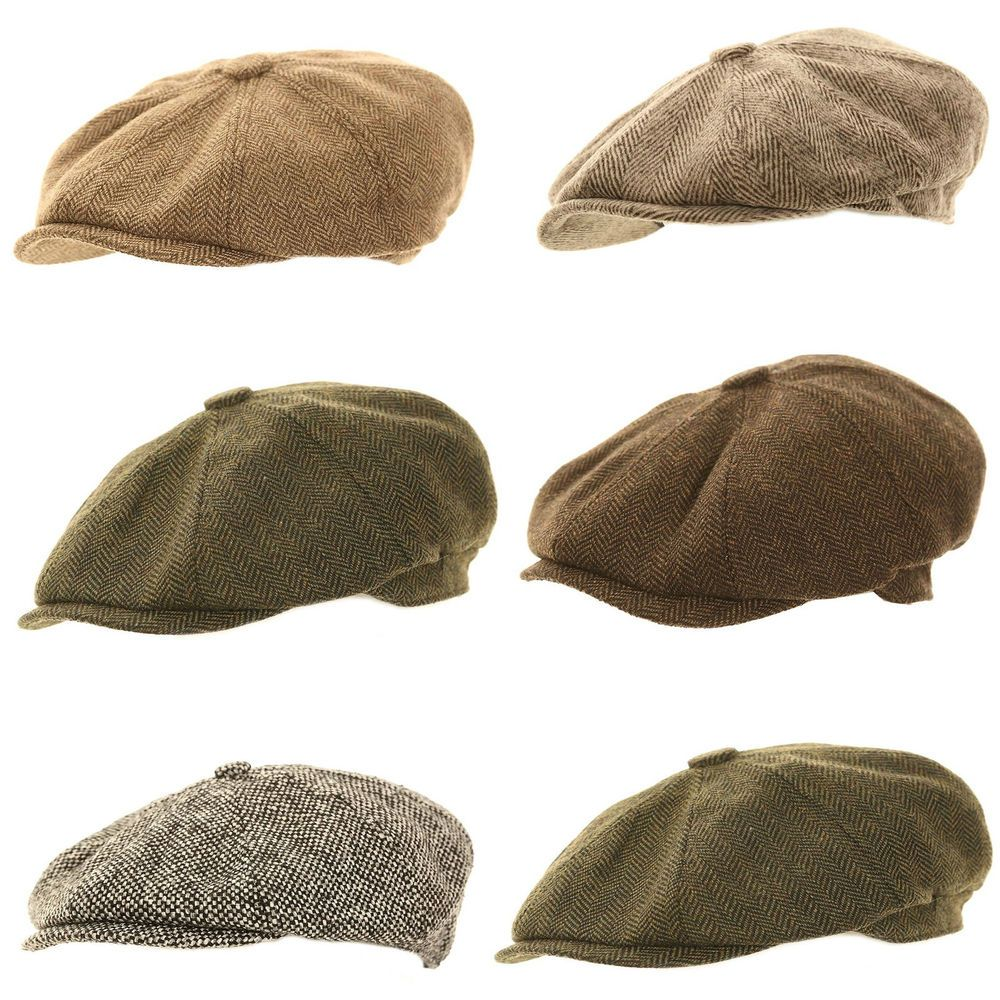 7fe49514 Mens Ladies Herringbone Baker Boy Caps Newsboy Hat Country Gatsby /Flat Cap