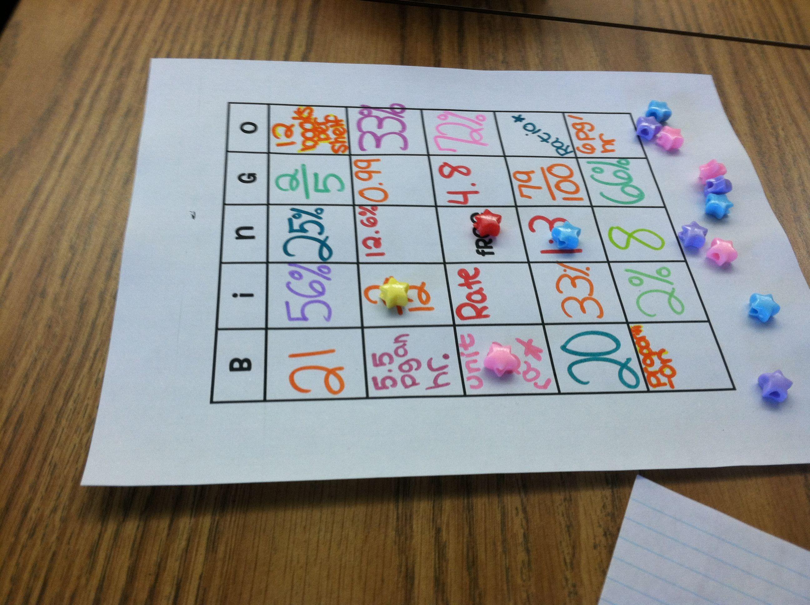 Percents, Fractions and Decimals Bingo Math fractions