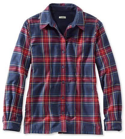 ba4a3a0d582a4 L.L. Bean Women s Fleece-Lined Flannel Shirt