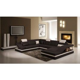 5039 Contemporary Black And White Leather Sectional Sofa W Side