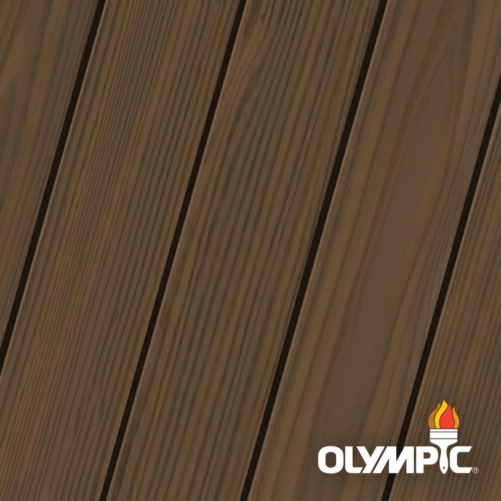 Olympic Maximum 1 Gal Oxford Brown Semi Transparent Exterior Stain And Sealant In One Oly713 01 The Home Depot Exterior Wood Stain Staining Wood Exterior Stain
