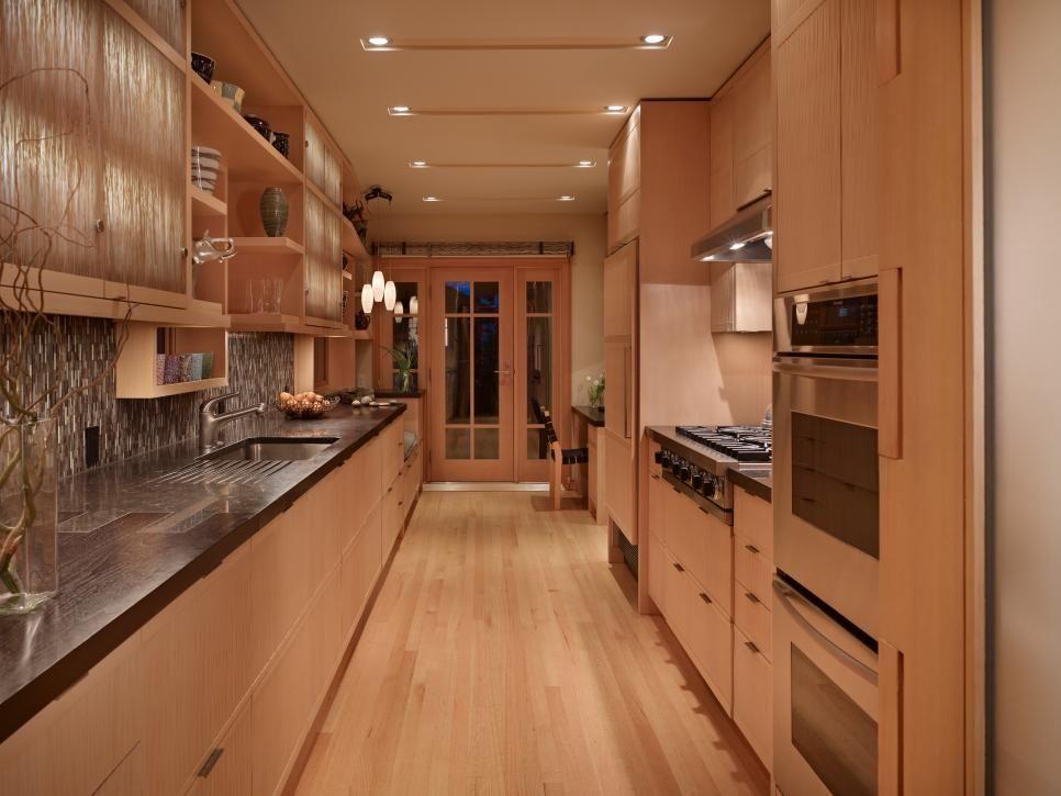 Cedar Cabinets Make Galley Kitchen Gleam Furniture Galley Style
