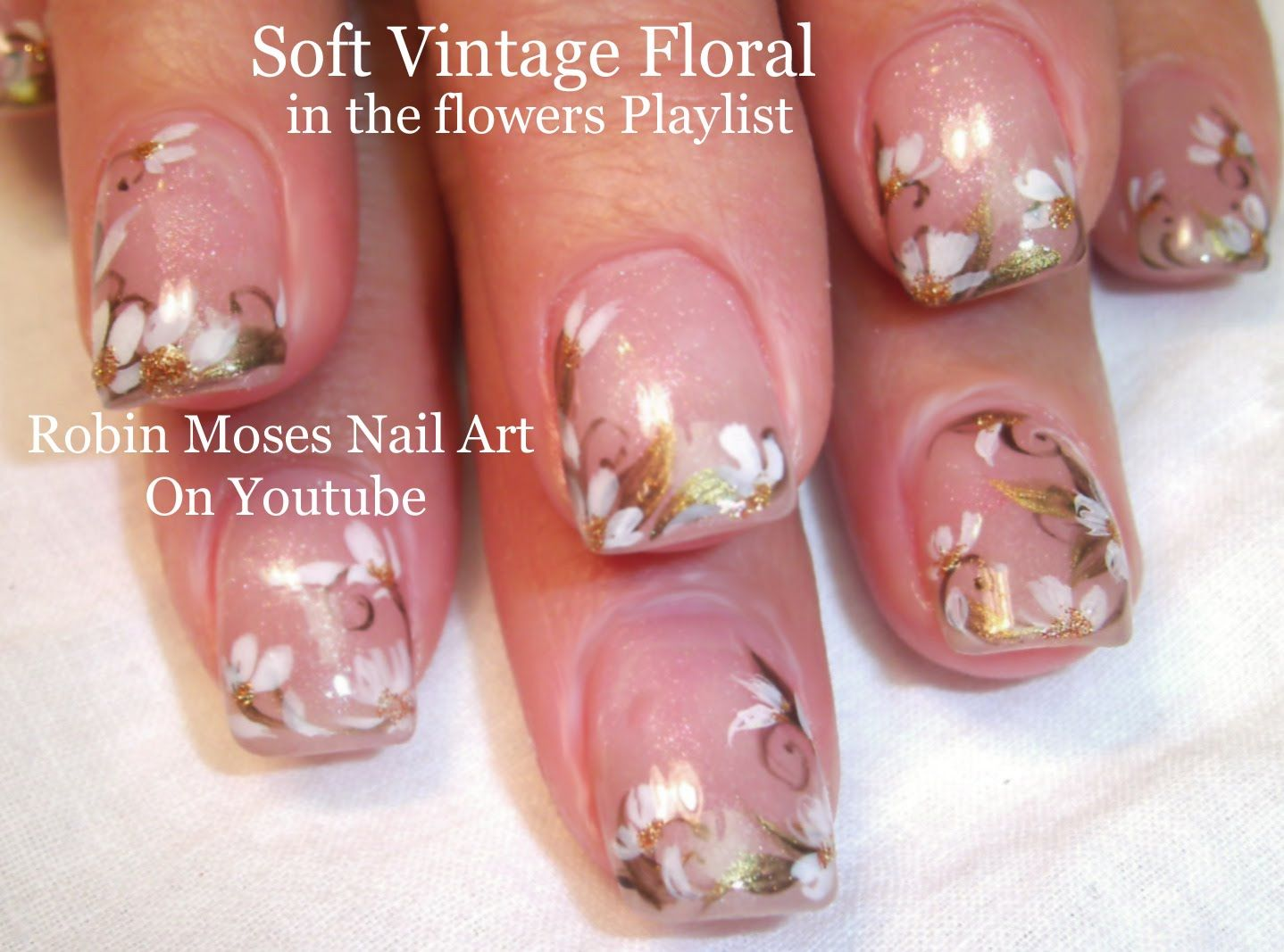 Nail Art Tutorial Easy Flower Prom Nails Soft Vintage Floral