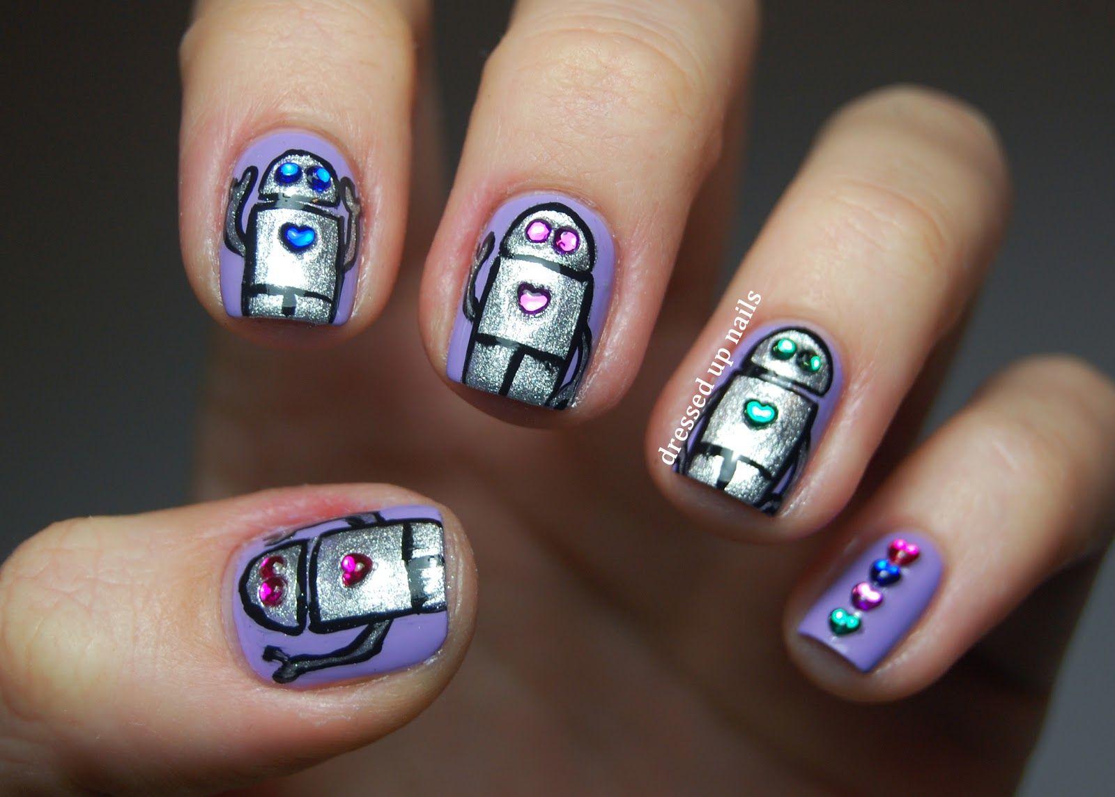 Dressed Up Nails - robot and rhinestone nail art | Nail Inspiration ...