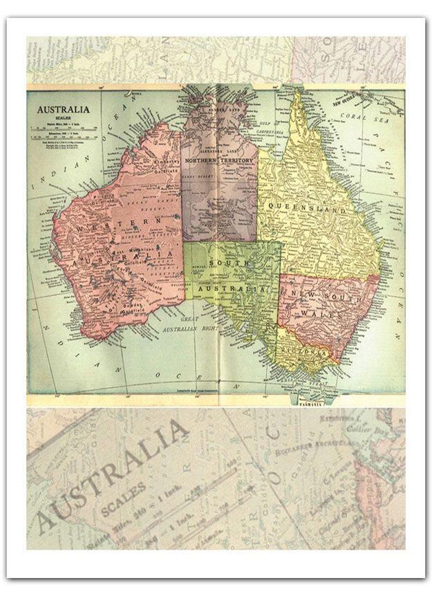 Map Of Australia To Buy.Vintage Australia Map Print Australia Map Australia Map Map Globe