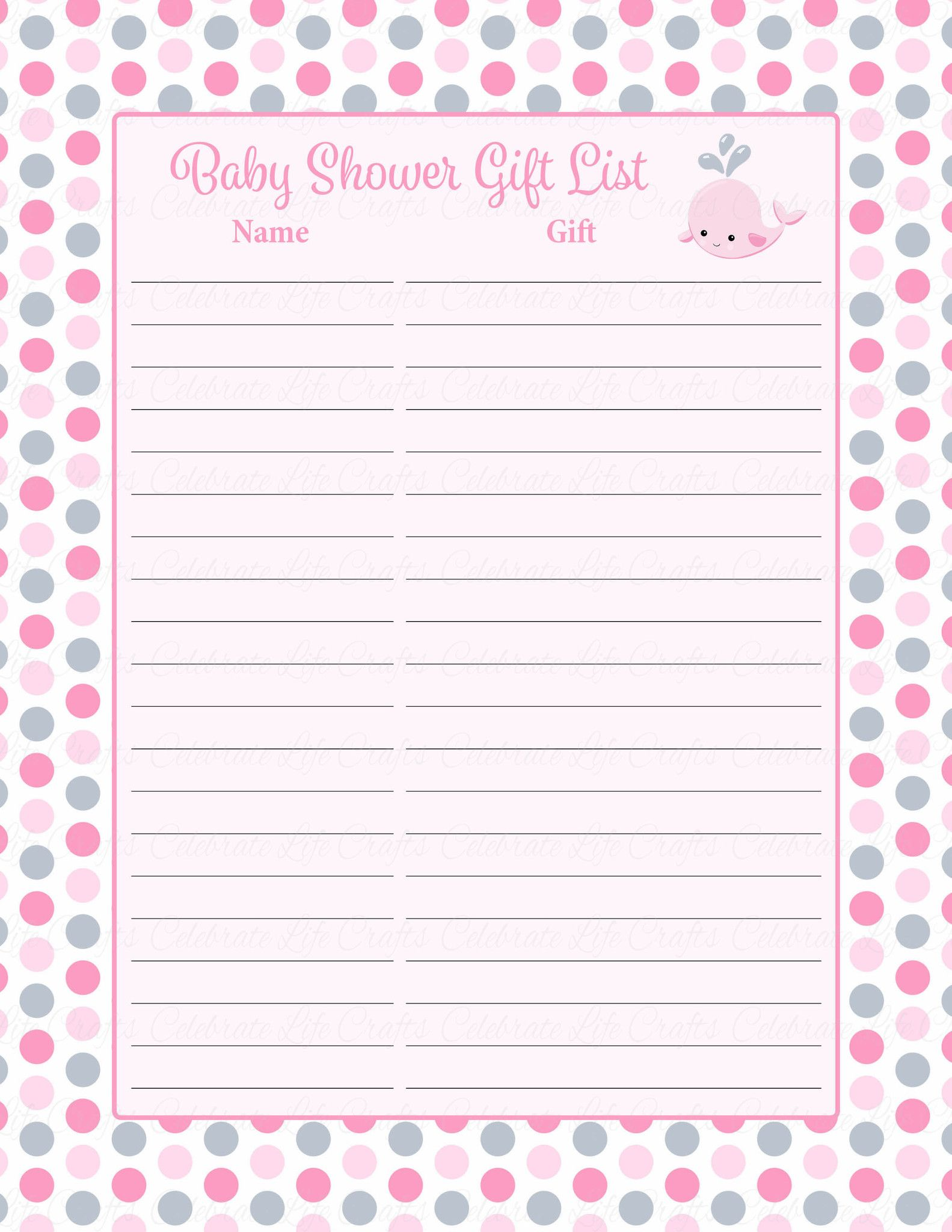 Baby shower gift list sign printable pink gray whale
