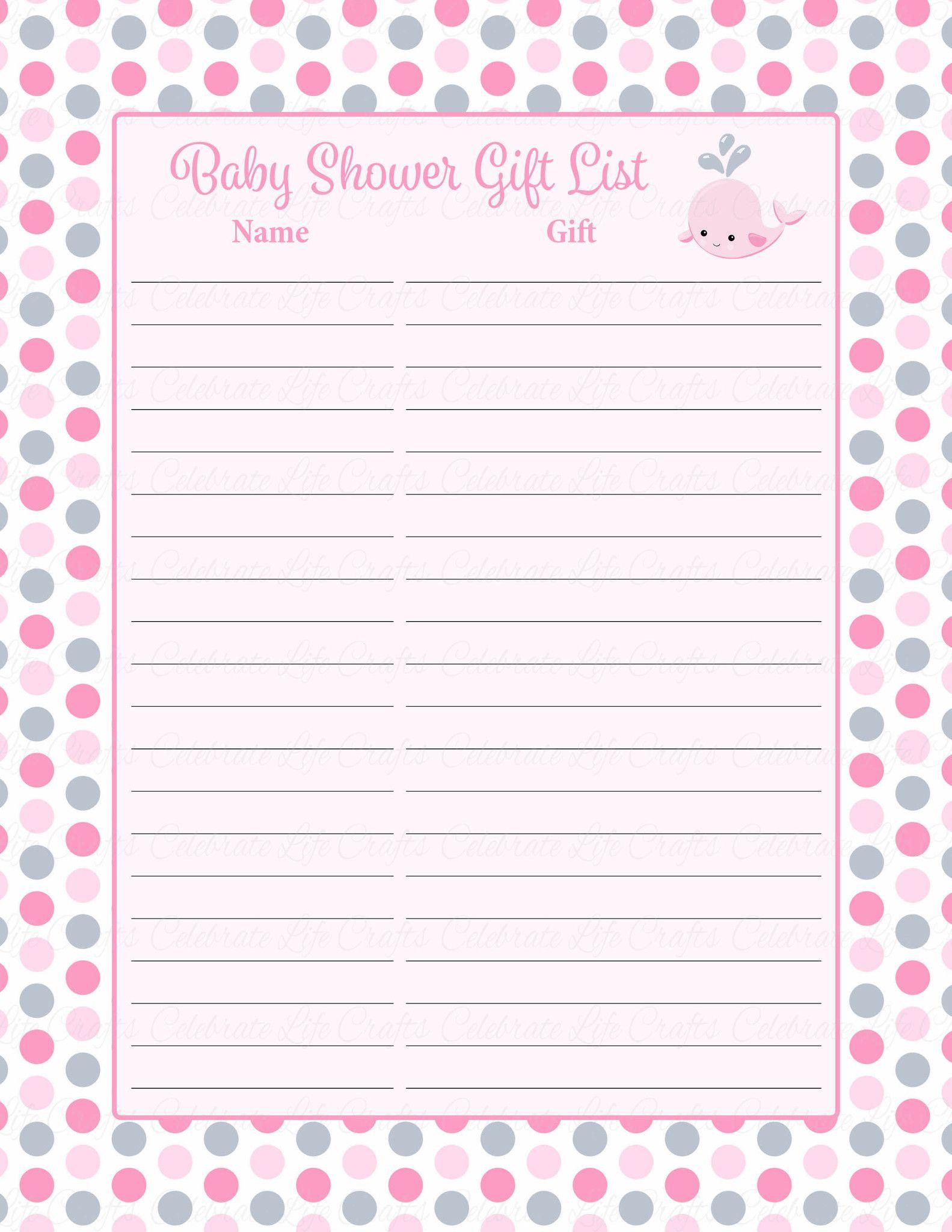 image regarding Printable Baby Shower Gift List titled Child Shower Reward Record Fastened - Printable Obtain - Crimson Grey