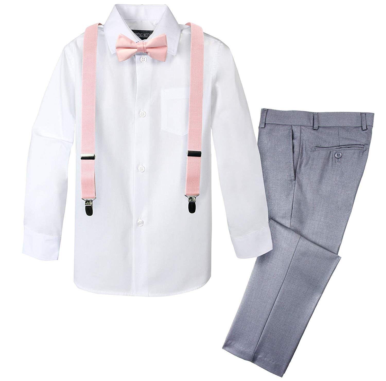 Boys' 4-Piece Dress up Pants Set - Light Grey and Blush Pink Set -  CF180S4DU2L   Suspenders outfit, Boys dress pants, Boys suits